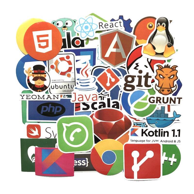 Image 2 - 50 ピースプログラミングステッカー Java JS Php ドッカー Bitcoin Html  クラウド言語アプリロゴおかしいステッカー車の DIY ステッカー    グループ上の おもちゃ