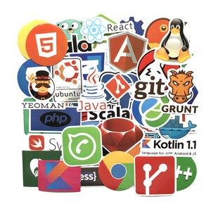 Image 2 - Pegatinas de programación para coche y portátil, pegatinas de programación con logotipo de aplicaciones en la nube, con diseño de Bitcoin, compatible con Java JS, Linux, Docker, 50 Uds.