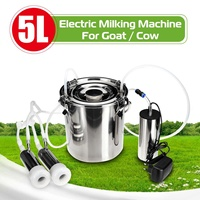 5L Upgraded Version Electric Cow Goat Sheep Milking Machine Vacuum Pump Stainless Steel Bucket Dual Heads 110V~240V