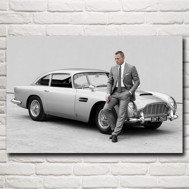 james bond and aston martin db5 art silk printing poster quantum of