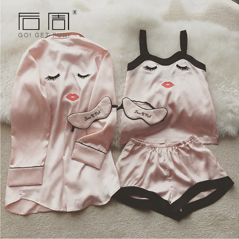 Pajama     Sets   4 Pieces   Pajamas   for Women Sleepwear Female Satin Pijama 2019 New Fashion Pyjamas Women Silk Elegant Sleep & Lounge