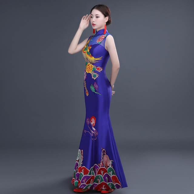 placeholder chinese traditional cheongsam wedding dress phoenix qipao  chinese cheongsam for wedding dresses gown sexy long red ee148d1177c9
