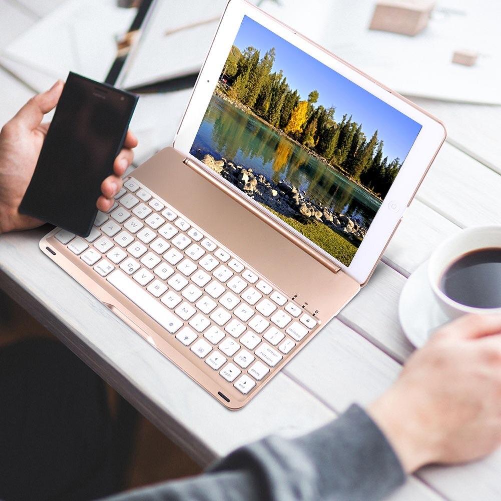 Алюминиевый Bluetooth клавиатура с подсветкой чехол книжка для iPad Air 2 iPad Pro 9,7 дюйма