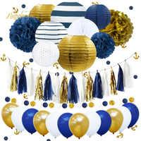 NICROLANDEE 38 teile/satz Neue Navy Blue Anchor Glücklich Geburtstag Papier Blume PomPom Luftballons Party Dekoration DIY