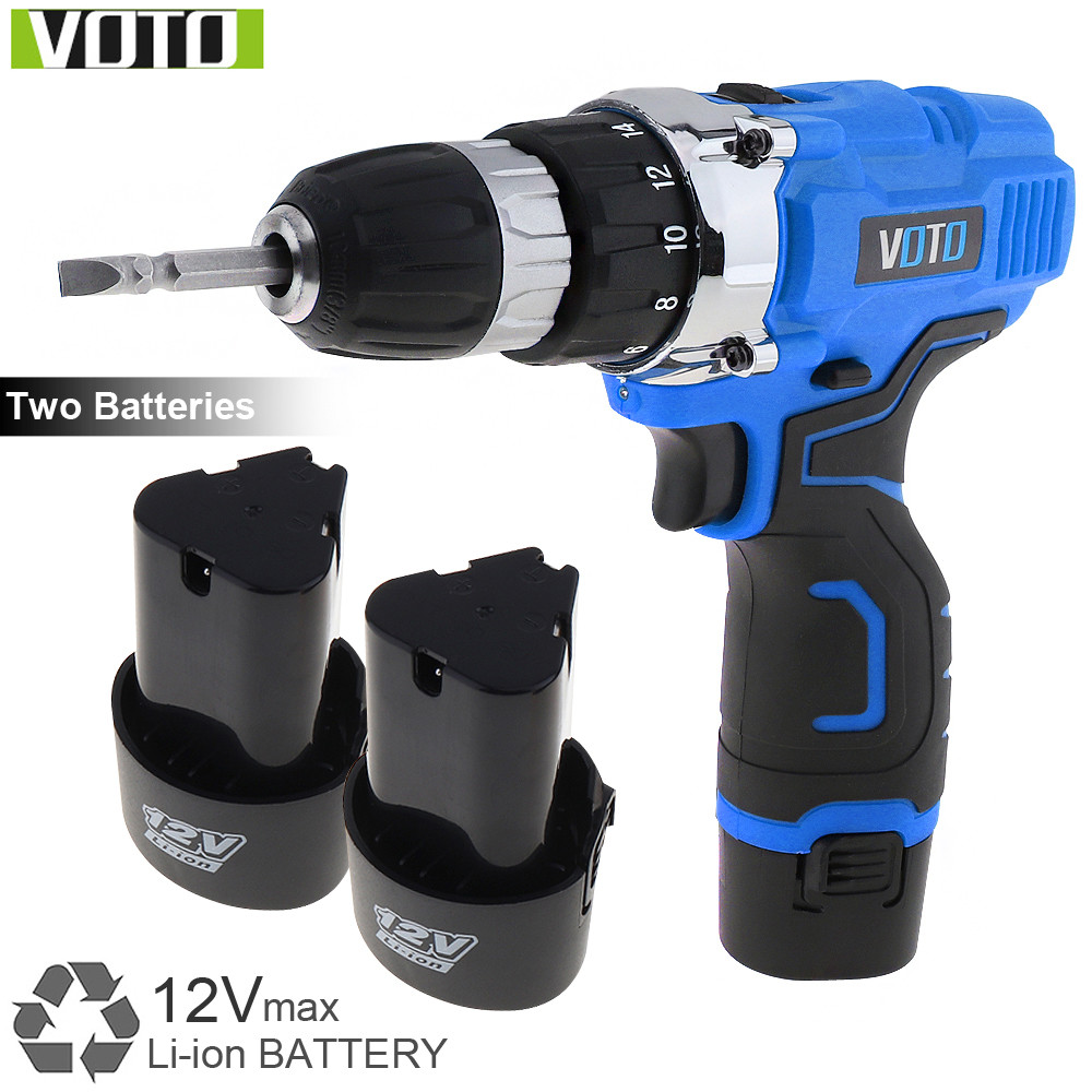 VOTO 12V Cordless Electric Screwdriver / Drill Rechargeable Lithium Battery Electric Screw Driver with Two-speed Adjustment كاتم العقيلات