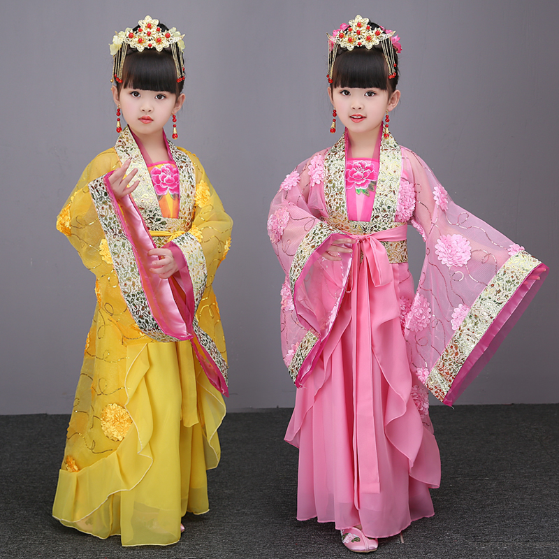 2018 autumn child chinese traditional hanfu dress girls emperor queen princess stage children costumes tang suit kids robe summer dresses styles chinese cheongsams for girls traditional chinese dress for children tang suit baby costumes
