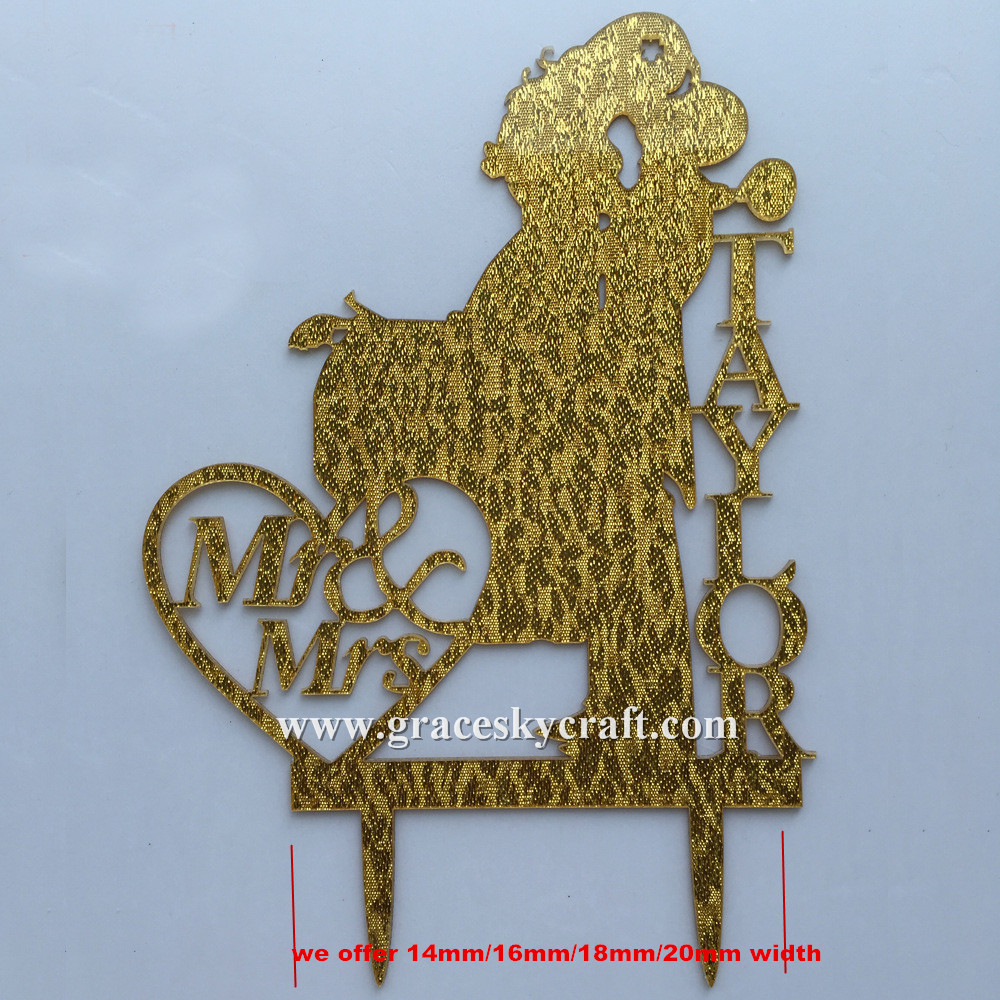 Besplatna dostava Vjenčanje torta Topper akril srebro zlato glitter, - Za blagdane i zabave - Foto 2
