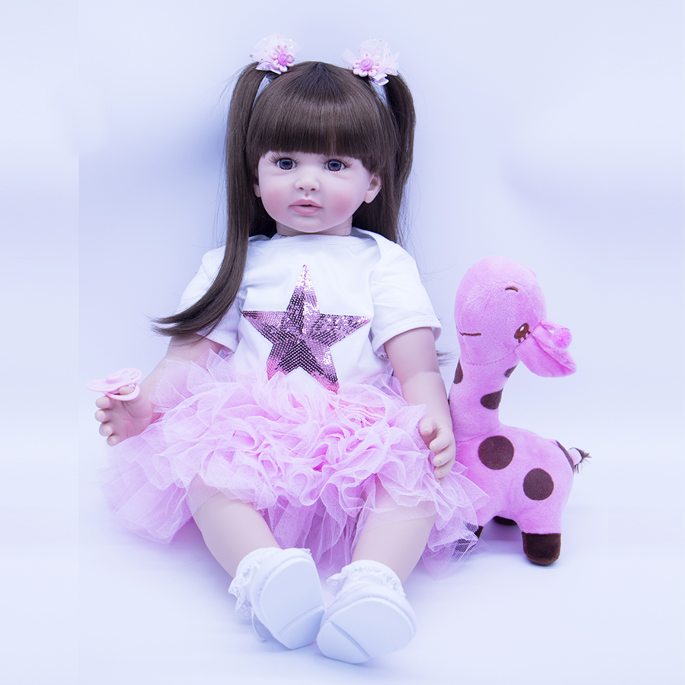 60cm Wear Pink Skirt Silicone Reborn Baby Doll Toys For Girl  Exquisite Sweet Princess Toddler Alive Bebe Babies Play House Toy