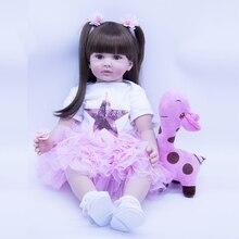 цена 60cm wear pink skirt Silicone Reborn Baby Doll Toys For Girl  Exquisite sweet Princess Toddler Alive Bebe Babies Play House Toy онлайн в 2017 году