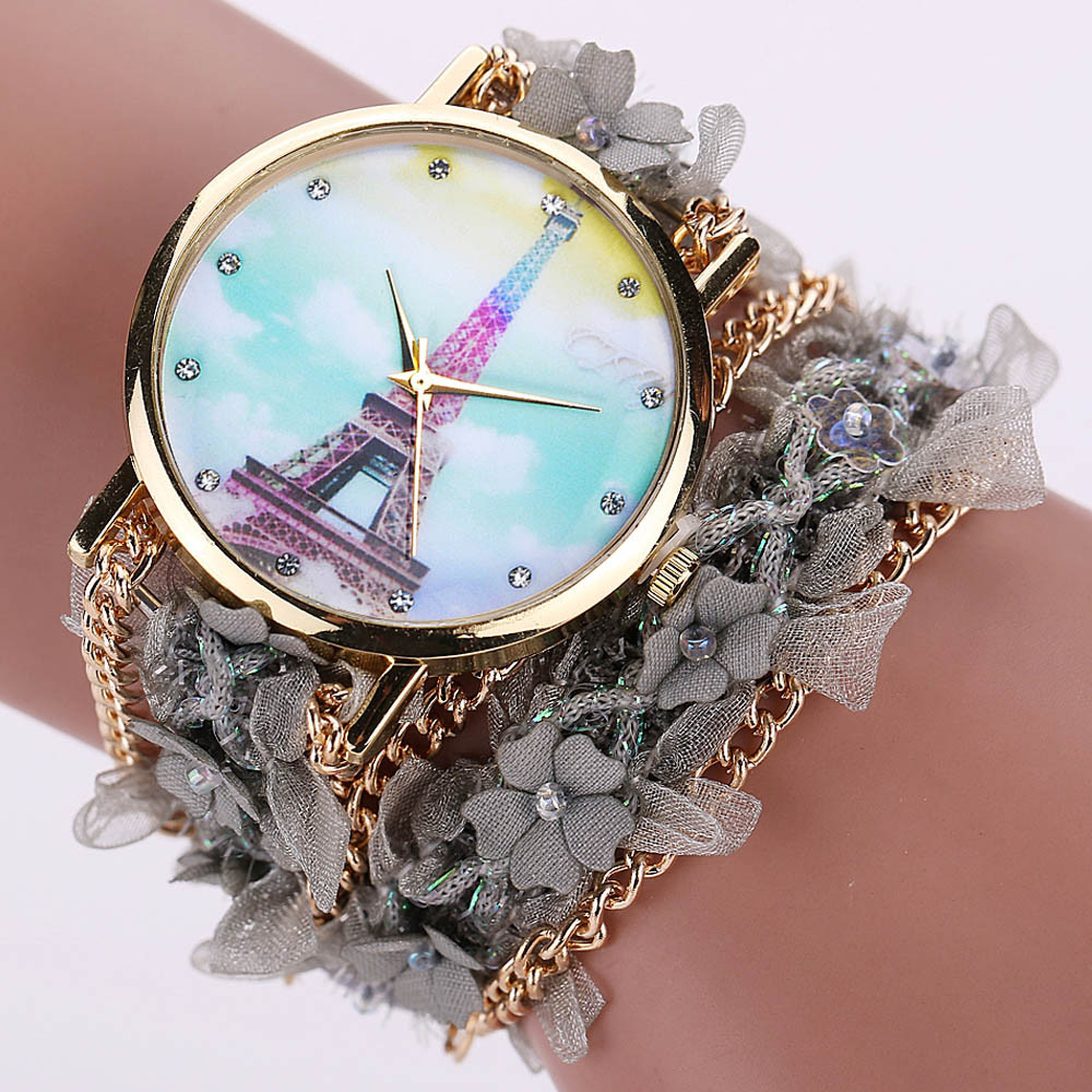 Women Watches 2017 Luxury Lace Wrap Around Bracelet Crystal Synthetic Chain Analog Quartz Wrist Watch Mujer del reloj 2017