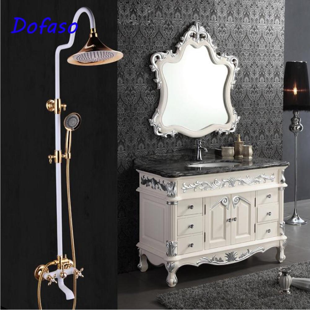Dofaso Luxury antique gold rain shower set wall mount golden white paint big round head shower bath shower faucets