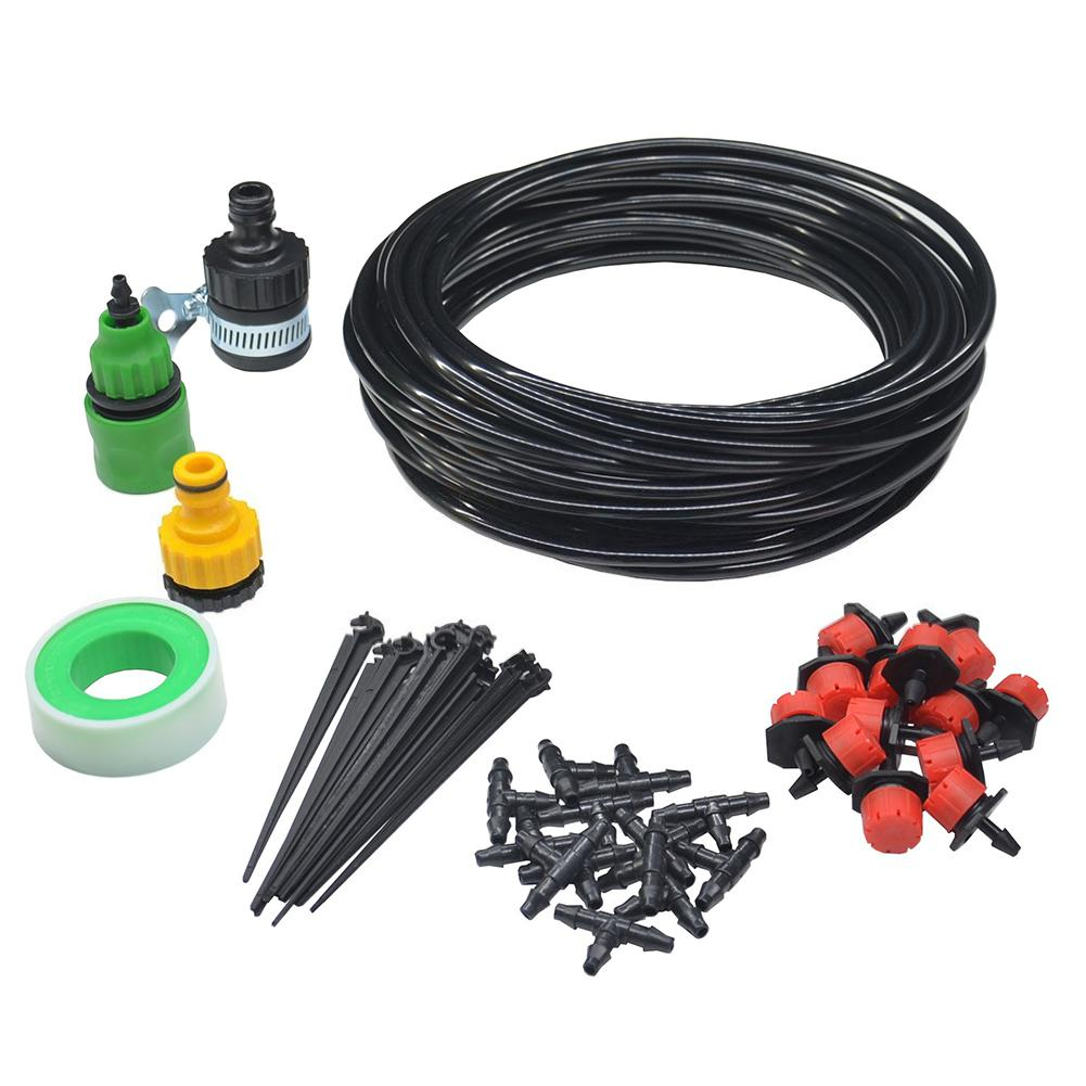 HiMISS 25M 30 Drip Heads Set Adjustable Spray Watering Automatic Irrigation System