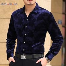 Mu Yuan Yang camisa de manga larga para hombre, camisa masculina de franela de alta calidad, a la moda