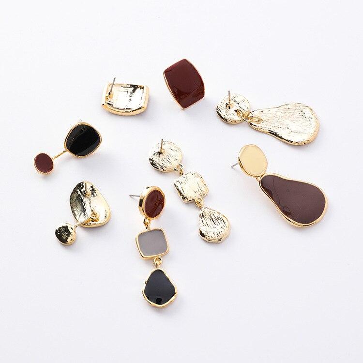 MENGJIQIAO 19 Korean New Vintage Geometric Irregular Square Water Drop Enamel Asymmetric Earrings For Women Fashion Oorbellen 16