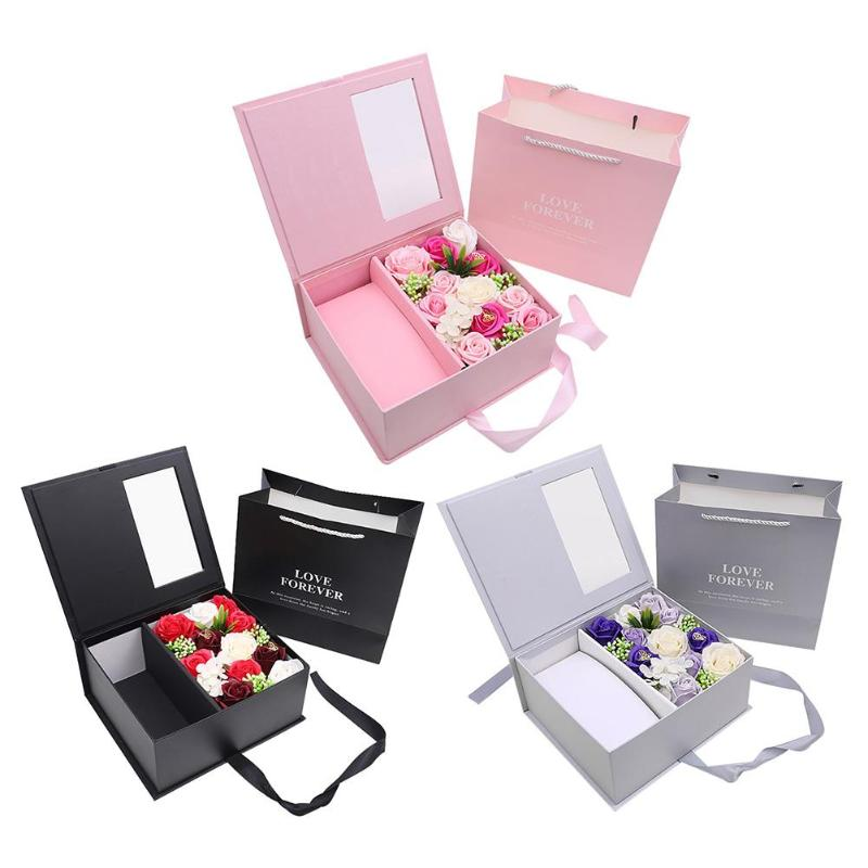 Surprise Box Artificial Rose Soap Flower Gift Box Valentine Day Gift For Girlfriend Wedding Party Valentine Decoration