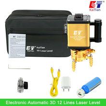Nivel Láser KaiTian Verde 3D 12 Líneas con Batería Giratoria/Función de Inclinación/Al Aire Libre Electrónica Automática Horizontal Vertical Láser