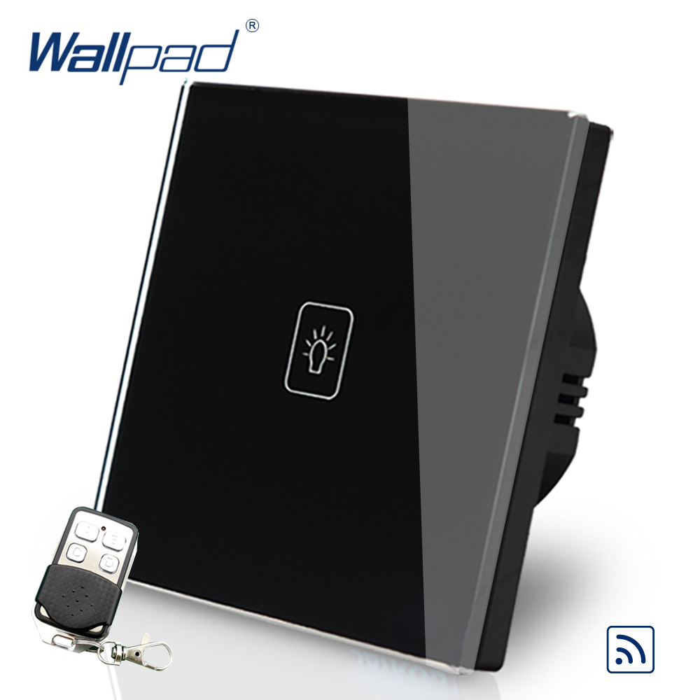 Black 1 Gang 1 Way Remote Control Touch Switch Crystal Glass Switch Wallpad Luxury EU Standard Switch With Remote Controller ewelink eu uk standard 1 gang 1 way touch switch rf433 wall switch wireless remote control light switch for smart home backlight