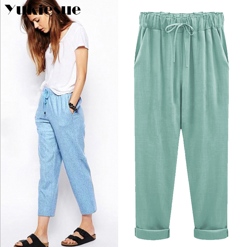 Harem pants capris women 2018 summer style high waist loose candy color cotton linen pants female trousers Plus size M-6XL