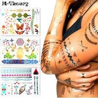 Gold Metallic Choker Flash Tattoo Sticker 21 15cm Waterproof Henna Tatoo Summer Style Temporary Body Art