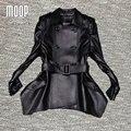 2016 Novos casacos de couro genuíno das mulheres 100% da pele de Carneiro casaco feminino blusão magro caixilhos Longo trench coat abrigos mujer LT187