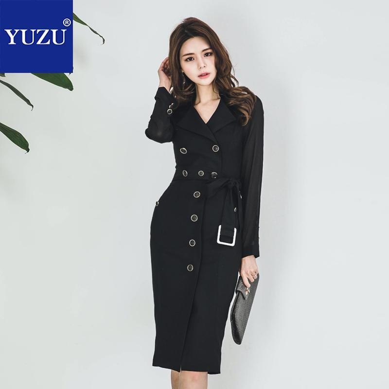 Trench   Coat Black 2018 Autumn Women Fashion Office Long Chiffon Sleeve Turn-down Collar Single Breasted Plus Size Solid Overcoat