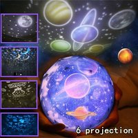 Magic Toy Rotating Night Projector Lamp Star Projector Night Light with 3 Modes and 6 Patterns for Magical Party and Children