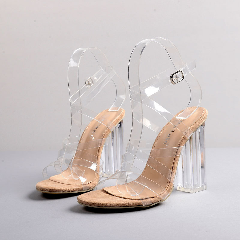 ФОТО PVC Women Gladiator Sandals Clear Transparent Heel Sandal Shoes Cross Tied Chunky Heels Lady Party Shoes Stiletto Pumps XK032201