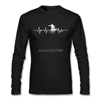 Heartbeat Snowboarding T Shirt Custom Long Sleeve Tshirt Men 2017 New Boyfriend Cotton Men Shirts