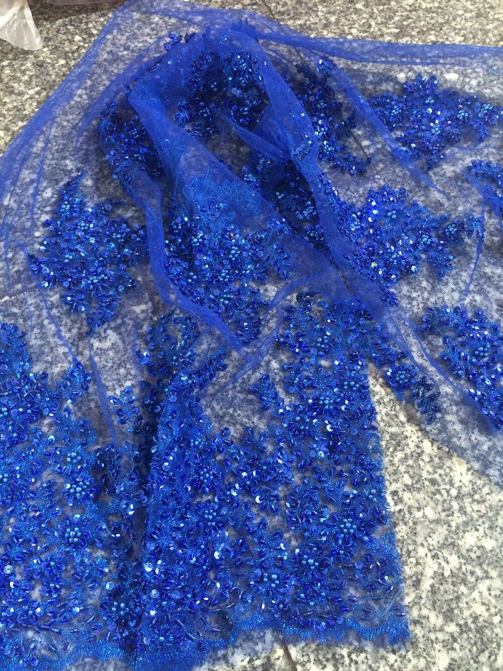 Tissu de dentelle africaine de luxe Z-han32126 avec perles de verre joli français Guipure tulle dentelle tissu de haute qualité - 5