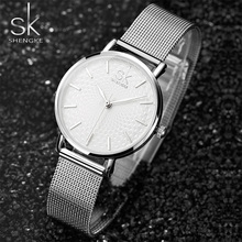 Women's Watch SK Luxury Brand Watch Lady Gold Bracelet Fashion Geneva Quartz Watch Women Stainless Steel Clock Relogio Feminino