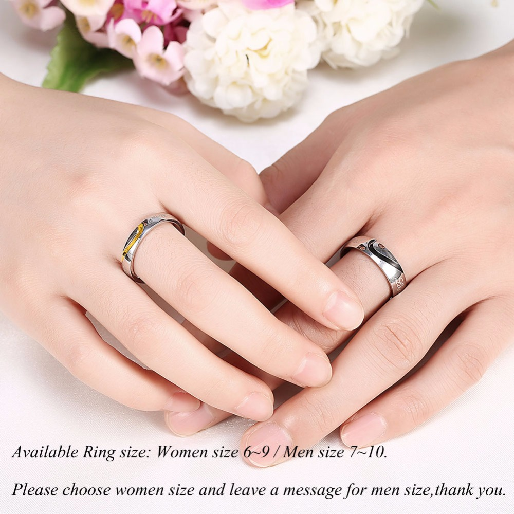MEGREZEN Pair Of Wedding Engagement Rings Couple Heart Love Ring ...