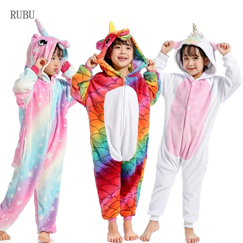0fa4afbc0c84 2018 Unicorn Onesie Kids Pokemon Winter Kigurumi Pajamas for Girls ...