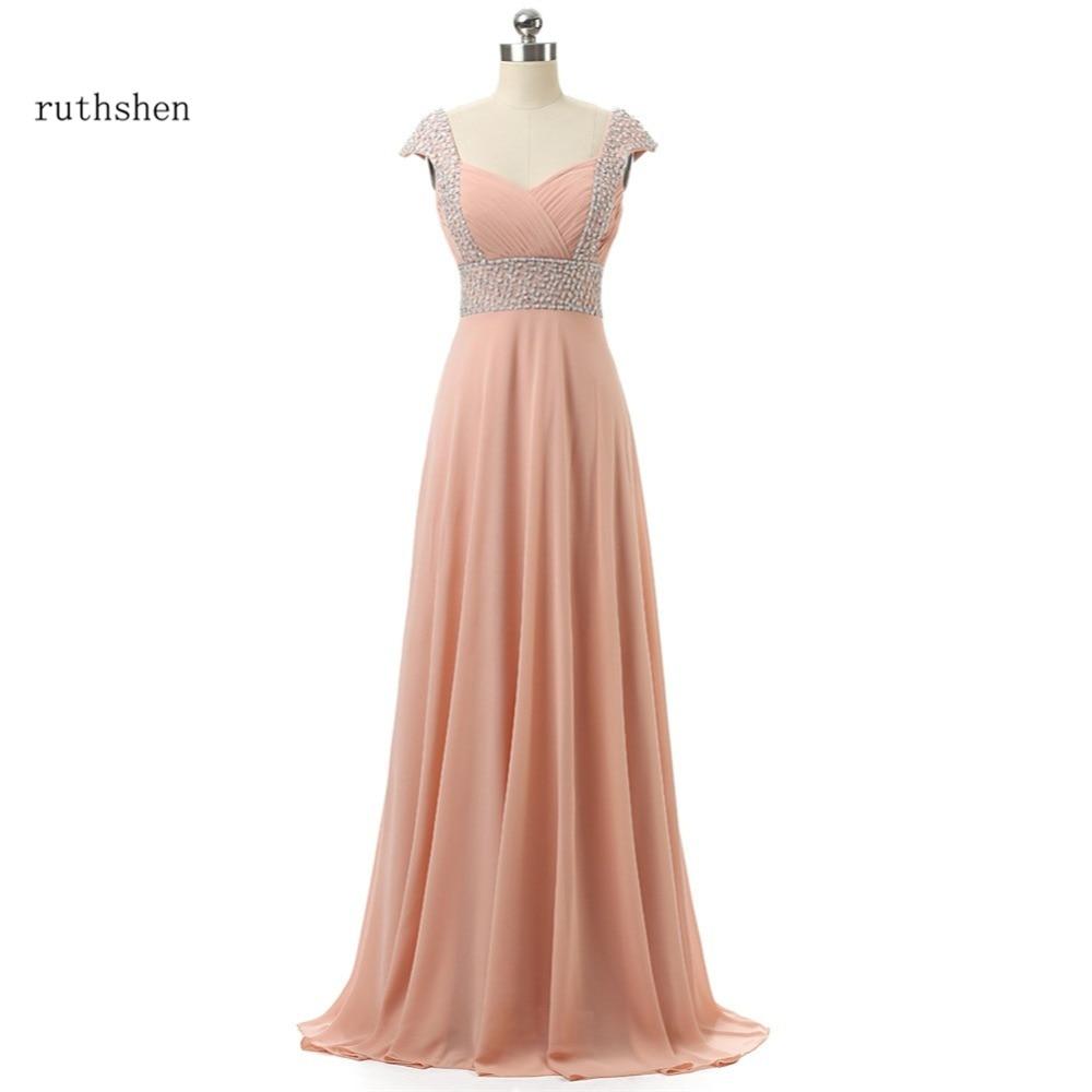 ruthshen Hot Vestido Dama De Honra With Beaded Cap Sleeves Blush Pink Draped Chiffon Long Peach   Bridesmaid     Dresses   Cheap