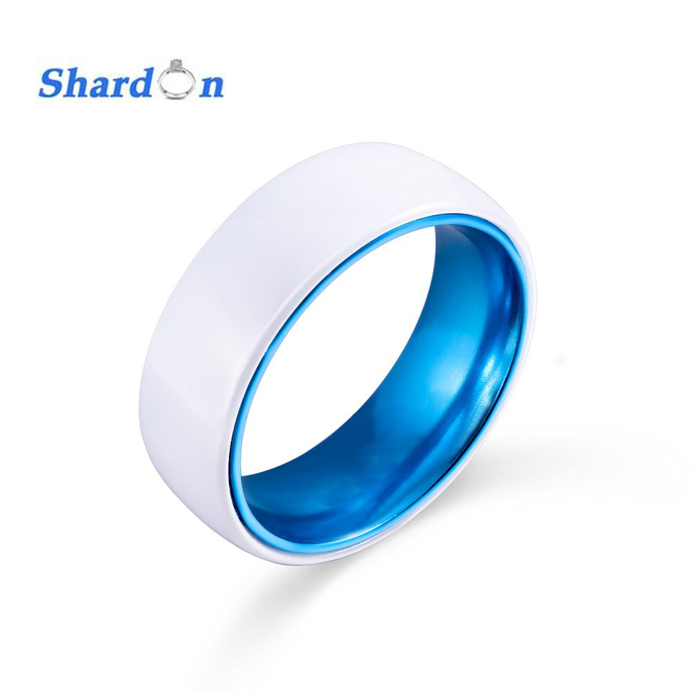 shardon wedding engagement jewelry white domed ceramic wedding band lovers ring engagement rings blue aluminium inlay in rings from jewelry accessories - Ceramic Wedding Rings