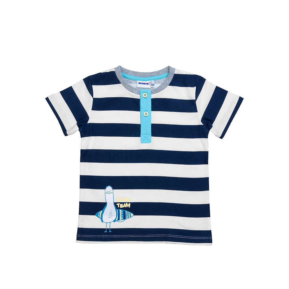 T-Shirts Winkiki for boys WB81009 Top Kids T shirt Baby clothing Tops Children clothes fashion casual 2pcs kids baby boys anchor letters t shirt shorts set summer clothes 2 7years