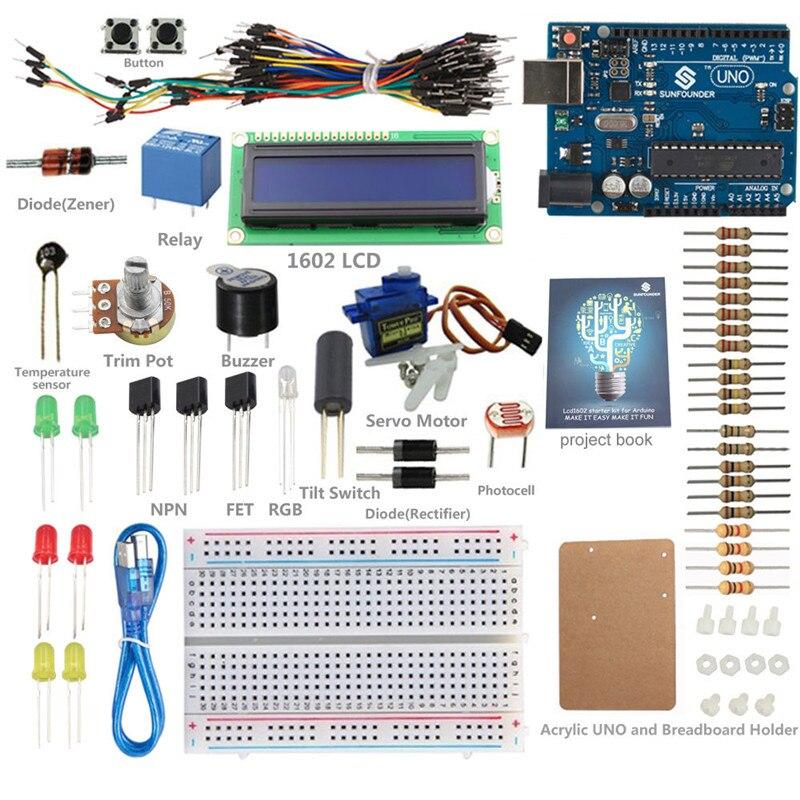 Nouveau Kit de démarrage LCD sunfondateur Lab UNO R3 1602 avec cahier de projets pour Arduino Nano Mega 2560