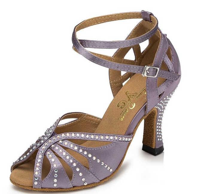 Новинка; женская Обувь для бальных танцев; темно-фиолетовая атласная обувь для танцев; обувь для латиноамериканских танцев; Танцевальная обувь для танго; все размеры