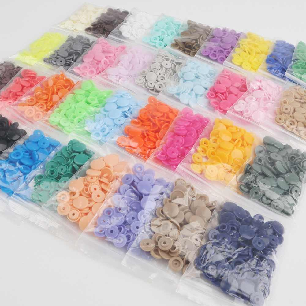 Lowest Price 50 Sets Baby Resin Snap Buttons KAM T5 12mm Plastic Snaps Clothing Accessories Press Stud Fasteners 15 colors