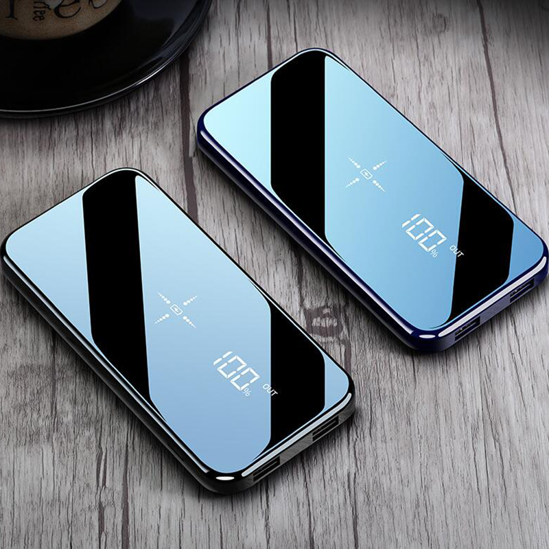 2019 Selling Quick Charge Wireless Power Bank Dual USB Mirror Screen 10000mAh Wireless Charger Powerbank Bateria External Porta