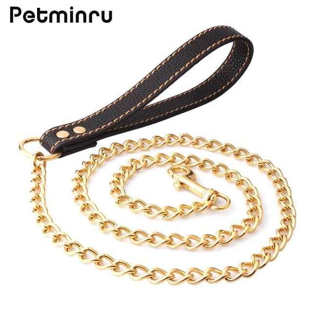 32af387c1ae6 Petminru mascota perro grande cadena de metal caminar leads arnés gato perro  Correas Collar para perro