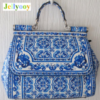 Сицилия Сумка белого и голубого цвета с принтом Для женщин сумка этнические сумки натуральная кожа антикварная древний Книги по искусству
