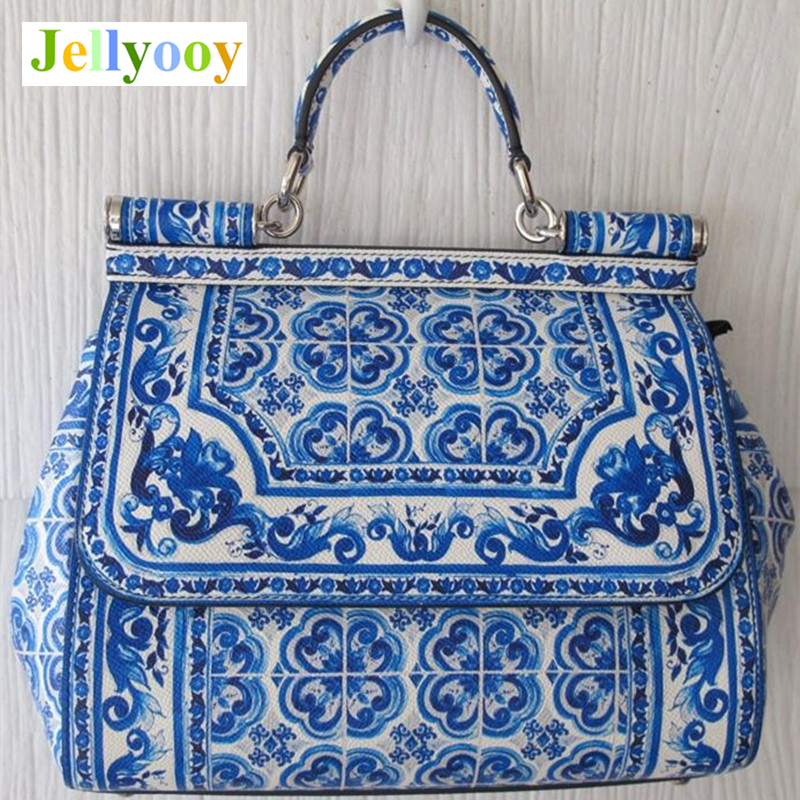 Sicily Bag Blue and White Porcelain Pattern Print Women Tote Bag Ethnic Genuine Leather Handbag Antique Ancient Art Shoulder Bag