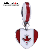 Authentic 925 Sterling Silver Canada Flag Heart Dangle White & Red Enamel Charms Fit Bracelets & Necklace Jewelry(China)