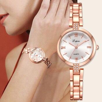 45453b0ceaad ... Lvpai relojes de marca para bandeja blanca Pedro Muñoz bandeja de acero  inoxidable de lujo vestido de Reloj de cuarzo Mujer Reloj de pulsera 2019  nuevo ...