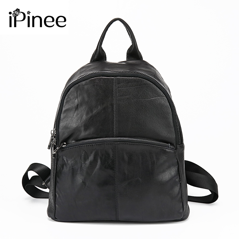 iPinee Fashion Simple Style Designer Women Backpacks Genuine Leather Travel Bag Free Shipping