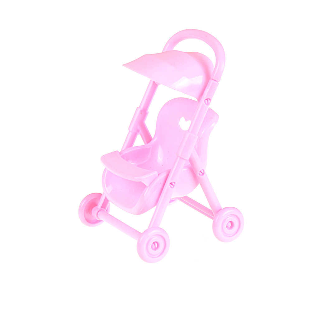 1PC Pink Doll Stroller Trolley Carriages Trolley Nursery For Barbie Doll For Stroller Furniture Baby Girls Gift
