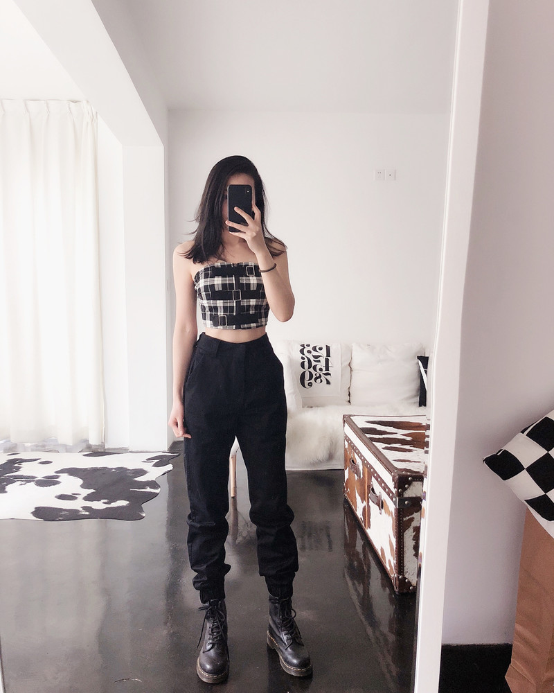 High waist loose joggers army pants street wear black cargo pants trousers 17