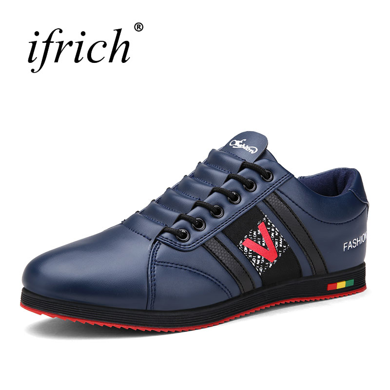 Ifrich 2017 New Arrival Athletic Running Shoes Pu Leather Men Sport Sneakers Black Red Mens Trainers  Cheap Runners
