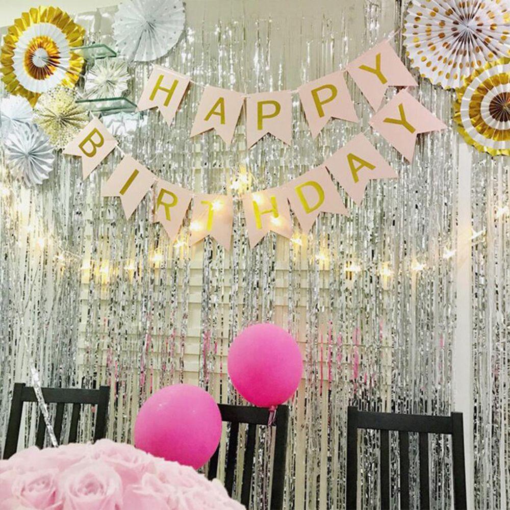 1x2 Meter Foil Fringe Hiasan Tirai Rumbai Pernikahan Natal Fotografi Curtain Backdrop 3 Terima Kasih Untuk Anda Ramah Pengertian