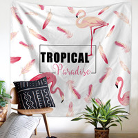Flamingo Tapestries Red Animal Watercolor Letter Feather Wall Hanging Tropical Couch Decor Crown Bedspreads Woven Funny